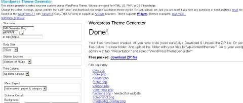 Wordpress Theme Generator